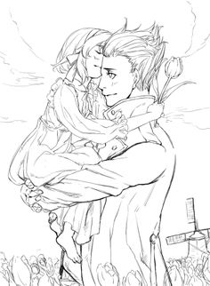 Young Anouk (head-canon name for Belgium) kisses her older brother, Willem (head-canon name for Netherlands) - Art by 勾七