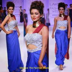 Geeta Basra in blouse plain saree draping style with  strapless blouse highlighting the saree designed  by  sougat paul at  Lakmé Fashion Week Winter/Festive  2014.