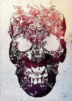 Floral Skull Art Print by Ali Gulec — iCanvas Totenkopf Tattoos, Plakat Design, Neue Tattoos, Geniale Tattoos, Floral Skull, Art Floral, Floral Design, Tatoo Art, Tattoo Ink