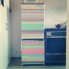 My customized fridge, with masking tape! DIY washi tape, kitchen, home, do it yourself. Awesome fridge!