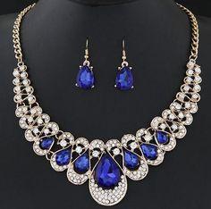 Women's Drop Earrings Pendant Rhinestone Jewelry Set