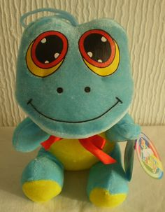 Play by Play Blue & Yellow Frog Toad Soft Toy Plush, New with Tags