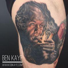 Tony Soprano portrait tattoo done by Ben Kaye
