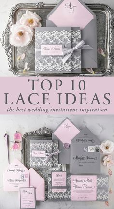 Top 10 Wedding Lace Invitations. The most beautiful and romantic designs. Timeless and romantic lace is perfect not only for wedding gowns, it will also work perfectly as an addition of wedding stationery and decorations. Lace can add romance and elegance to any wedding style! Find your perfect - fully assembled and completely customizable wedding invitations #elegant