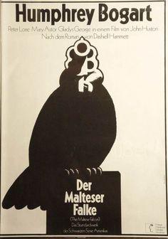 The Maltese Falcon German poster. Humphrey Bogart. Jon Huston. Art by Hans Hillmann