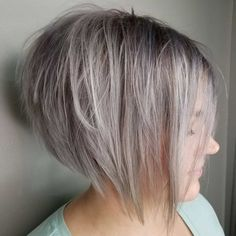 Gray Choppy Inverted Bob