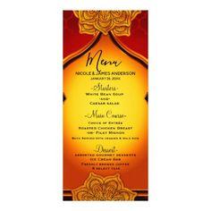 Fiery Red Gold Royal Mandala Indian Moroccan Menu - birthday gifts party celebration custom gift ideas diy