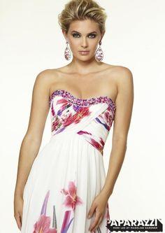 Mori Lee Paparazzi 97054 Floral Print Chiffon Gown