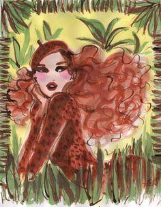 #izakzenou #fashionillustration #illustration #watercolor #trafficnyc #artistprints  #fashionista contact info@traffic-nyc.com #redhead