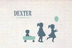 Geboortekaartje Dexter - Pimpelpluis - https://www.facebook.com/pages/Pimpelpluis/188675421305550?ref=hl (# broertje - zusje - broer - zus -  kindjes - lief - bolderkar - trekkar - ballon - lief - silhouet - origineel)