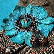 Бирюза и медь, copper and turquoise, embroidered felt brooch,