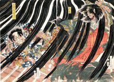 【茨木童子】歌川国貞:戻橋綱逢変化/茨鬼 Samurai vs. demon