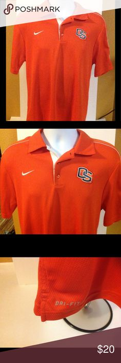 Mens Nike OSU Beavers Polo Dri Fit Small Nice condition Oregon State University Nike Dri Fit Polo style shirt.  Orange with white piping down the sleeves.  Size small --has one mark on the inside of the collar see pic.  No runs detected. Nike Shirts Polos