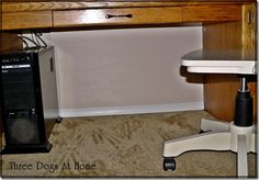 To hide cords:  cut foam cord to size, paint to match wall color and attach to back of desk with double sided tape.