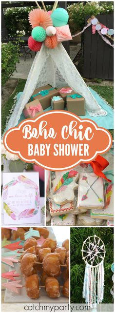 Loving this beautiful baby shower with a boho chic look! See more party ideas at CatchMyParty.com!