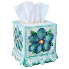 Craftways Blue Beauty Tissue Box Plastic Canvas Kit - Herrschners