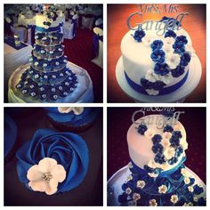 blue and white Cupcake Towers, Blue And White, Desserts, Food, Meal, Deserts, Essen, Hoods, Dessert