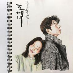 Kpop Drawings, Anime Drawings Sketches, Gong Yoo, Goblin Kdrama Fanart, Disney Princess Paintings, Goblin Korean Drama, Moonlight Drawn By Clouds, Asian Love, Indian Art Paintings