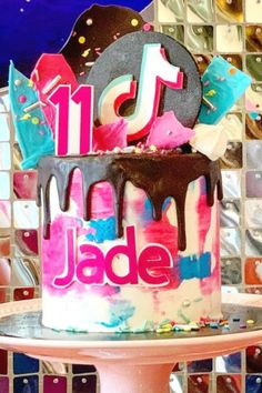 Check out the wonderful Tik Tok birthday cake at this Tik Tok birthday party! See more party ideas and share yours at CatchMyParty.com #catchmyparty #partyideas #4favoritepartiesoftheweek #tiktok #tiktokparty #girlbirthdayparty #teenparty #tiktokcake