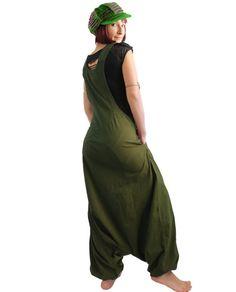 Olive Aladdin Harem Jumpsuit   dungarees  Overalls  Women