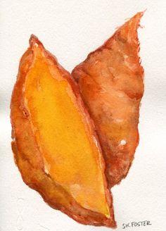 Sweet Potatoes watercolors paintings original by SharonFosterArt