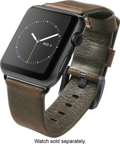 Nomad - Leather Strap for Apple Watch 42mm - Brown/Black - Angle Zoom
