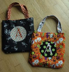 Monogrammed Halloween Trick or Treat Bags  Made to by poshedup, $15.00