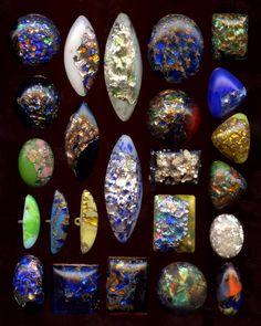 Collection 24 Antique Leo Popper & Sons Foil Glass Buttons ca 1900