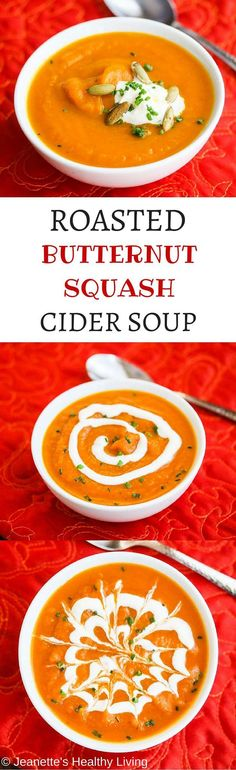 Roasted Butternut Squash Cider Soup Recipe - this sweet spiced butternut squash soup is perfect for Thanksgiving and the rest of the holiday season. Make this soup ahead of time and reheat in a slow cooker the day you want to serve it. Top with a dollop of sour cream, swirl it or get fancy and make a spiderweb design on top! ~ http://jeanetteshealthyliving.com