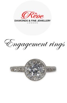 Look at the Lilian Vintage Design Round Halo Diamond Engagement Ring.  The Lilian vintage design diamond engagement ring brings a classic look up to date, making it the perfect choice for any age. The sparkling centre stone is surrounded by a halo of round brilliant cut grain setting, sitting on a feature band containing round brilliant cut shoulder stones follow us #reve diamonds #engagement #london