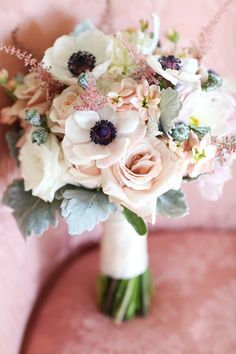 Niara bouquet.  Anemones, dusty miller, bouquet