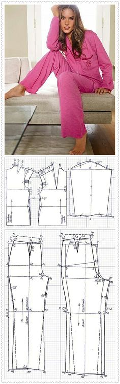 Precioso pijama en rosa Blouse Patterns, Clothing Patterns, Fashion Sewing, Diy Fashion, Sewing Clothes, Diy Clothes, Sewing Lingerie, Bikini Pattern, Easy Sewing Patterns