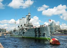On 25 October 1917, the Russian Battleship Aurora refused to carry out an order to go out to sea, which sparked the October Revolution.  At 9.45 p.m on that date, a blank shot from her forecastle gun signaled the start of the assault on the Winter Palace, the last episode of the October Revolution.