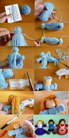 poupée pompons I used to make yarn dolls when I was a little girl. Didn't dress them,. Kids Crafts, Yarn Crafts, Arts And Crafts, Cardboard Crafts, Cute Crafts, Craft Tutorials, Craft Projects, Sewing Projects, Diy Doll