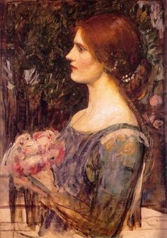 The Bouquet: 1908 by John William Waterhouse (Falmouth Art Gallery, Falmouth, Cornwall, UK) Pre-Raphaelite