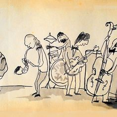 Buy 'jazz band' by Loui Jover as a Greeting Card. ink/old paper Jazz Band, Old Book Pages, Old Paper, Classical Music, Illustration Art, God, Random, Drawings, Artist