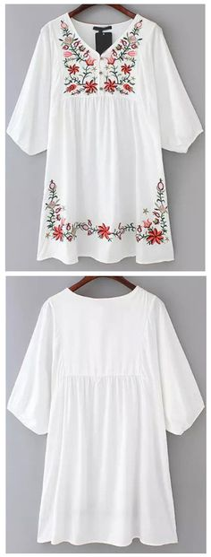 White V Neck Hibiscus Embroidered Loose Dress
