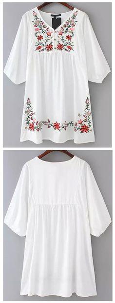V neckline white dress to ear