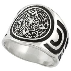 Sterling Silver Aztec Calendar Mayan Sun Ring for Men Aztec Design Sides wide, sizes 8 - 13 Diy Jewelry Rings, Jewelery, Aztec Rings, Aztec Clothing, Rings Of Saturn, Aztec Calendar, Rings N Things, Aztec Designs, Jewelry Stores