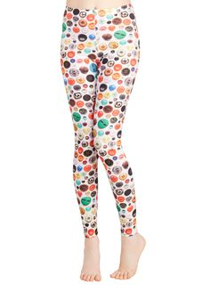 Angel - Affix Me Up Leggings. Live life in the fastener lane by sporting the button print of these white leggings! #multi #modcloth