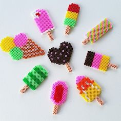 Ice cream hama beads by sorridi_e_staystrong Perler Bead Designs, Hama Beads Design, Diy Perler Beads, Perler Bead Art, Pearler Beads, Fuse Beads, Melty Bead Patterns, Pearler Bead Patterns, Perler Patterns