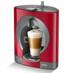 The very slim Nescafe Dolce Gusto Oblo KP 1105 from Krups is the space saving capsule coffee machine designed for the coffee lovers with the Read Latte Macchiato, Krups Coffee Maker, Chaï Tea Latte, Miele Coffee Machine, Black Rock Coffee, Nesquik, Premium Coffee, Expresso, Nescafe