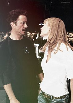Tony and Pepper (Robert Downey Jr and Gwyneth Paltrow)