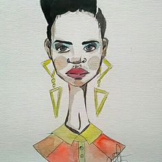 Afro style black art watercolour and marker draw by Sandra Pereira