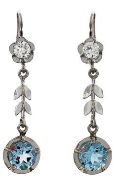 *Late Art Deco Diamond & Aquamarine Dangling Gold Earrings,  Wonderful diamond and aquamarine earrings from the late Art Deco (ca. 1930) era! Each of these fabulous earrings has a single faceted aquamarine stone, which is set in 14kt white gold. Circa 1930.