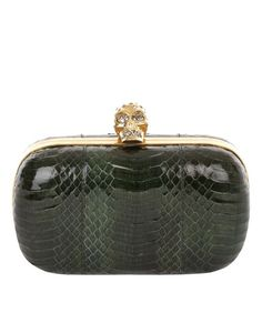 Bottle Green Devil Snake Skull Box Clutch  Alexander McQueen