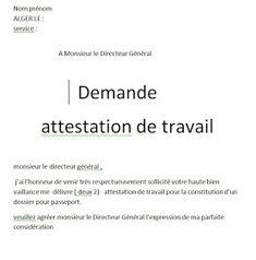 Exemples model de demandes attestation de travail word algerie en 2019 | Certificat de travail ...