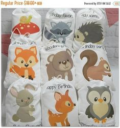 Adorable party favor Bags Woodland animal friends great for Girls/Boys Birthday or baby shower for treats or gifts. These bags are available in two sizes the 5 X 7 Or the 6 X 8 size bags.These Woodland Forest animals bags can be personalized with any message you may need for your