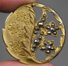 Victorian Brass Openwork Floral Button w/Cut Steels
