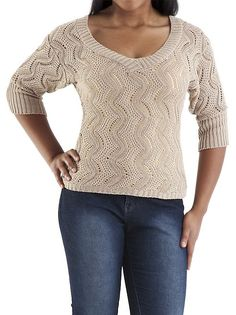 I found this Elbow Sleeve V-Neck Allover Zig Zag Metallic Sweater